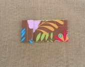 Tampon Holder - Glasses Case - Bold Colorful Flowers - Retro Floral Print - Brown Background