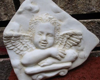 Garden Angel Decor Wall Plaque Cherub Bas Relief Stone Molded Art Picture  3D Vintage HenFeathers Home