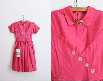50s Pink Golden Bow Dress / 1950s Girls Dress / Womens XS / Children Dress / Size 12