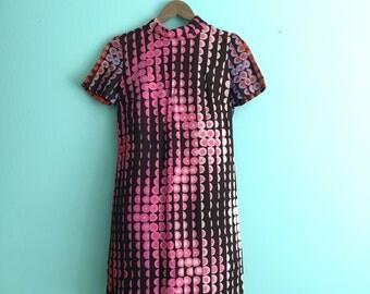 60s Mod Mini Dress/ 1960s Dress/ Size XS/S