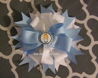 Blue White Alice Hair Bow with Alligator Clip or Barrette