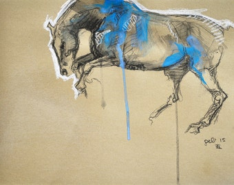 Galloping Horse, Animal, Contemporary Original Fine Art, Mixed media drawing of a Horse