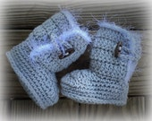 Crochet Baby Girls' LIGHT GRAY Snuggle Boots Inspired UGGS With Toggle Wood Buttons ~ Sizes 0-12 Mos ~ Custom Colors Available
