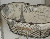 Farmhouse Wire Basket, Mud Room, Kitchen, Bathroom, Vintage Baskets, Office Supplies, Office Storage, French Chicken Wire Basket, Kitchen