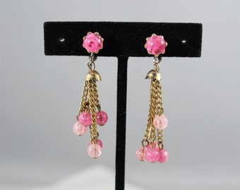 Golden With Pink Beads Cluster Clip On Earrings