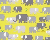 1/2 yard LAMINATED cotton fabric remnant (18 x 40) aka oilcloth wipeable coated fabric - Elephant herd Organic Emberley