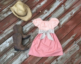 Girls Fall Dress Peach Coral with Tan Sash 6 12 18 24 2T 3T 4T 5/6 7/8 9/10 11/12 Rustic Western Boho Flower Girl Sister Dresses Country