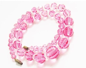 SaLe Vintage Pink Crystal Bead Necklace 1960s Mid Century Jewelry
