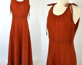 1970s Dark Burnt Orange Sundress, Shoulder Tie, Boho, Hippie, Grecian Goddess