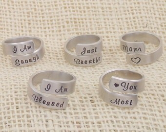 Personalized Jewelry - Hand Stamped Custom Ring - Personalized Wrap Ring - Hand Stamped Jewelry