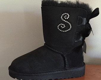 Custom Bailey Bow Ugg Boots with Rhinestone Initial