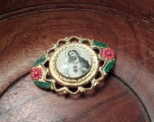 Vintage Religious Brooch...Catholic Pin...Enamel....Tin...Catholic Flower Christ Pin...Easter Jewelry