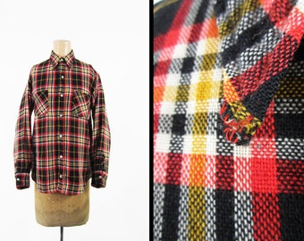 Vintage 60s Wool Plaid Shirt Black Red Tartan Repaired Button Down - Men's Small