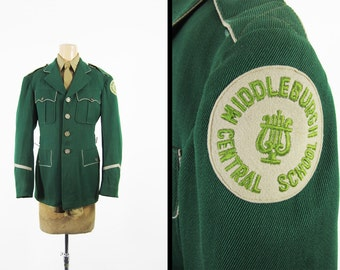 Vintage Middleburgh Marching Band Uniform Jacket Green Whipcord Central School - Sz 36