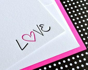 Pink Sketched Love Card  : Letterpress