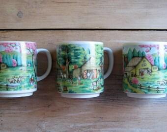 Vintage Japan Mugs with Pastoral Scenes, Set of Three