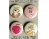 Fantastic Mr. Fox, Fantastic Mr. Fox magnet set, Wes Anderson, Wes Anderson badges