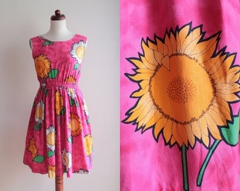 Sunflower Dress - Pink Vintage Dress - 1990's Sundress - Grunge Hippie Boho Dress - Size S