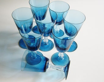 Vintage, Wine Glasses, Teal, Turquoise, Clear Stem, Made in Portugal, Small Wine Glass, Set of 8, Cocktail Glasses, Vintage Barware, Aqua