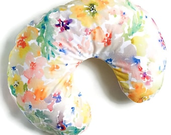 Nursing Pillow Cover Watercolor Flowers - Nursing Pillow Cover - Floral Boppy Cover - Soft Minky Boppy Cover - Coral Cover - Organic Boppy