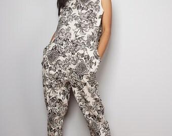Jumpsuit / Linen Jumper / Linen Jumpsuit- Long Pants : Soul of the Orient Collection
