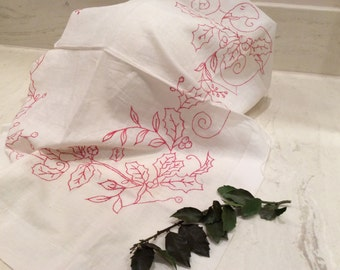 Vintage Ivory Cotton with Red Embroidered Holly and Berries Holiday Scarf, Embroidered Picture,  Embroidered Pillow Sham,  Vintage Linens