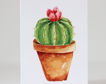 Cactus Greeting Card Pink Flower