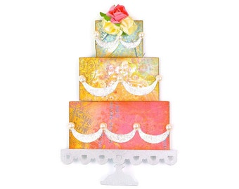Shabby Chic Wedding Cake 3 Tier Vintage Glitter Paper Embellishments | 3 Styles - Scrapbook Embellishments Glitter three tier Wedding cake