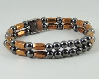 Copper Facets and Black Beaded Magnetic Hematite Bracelet