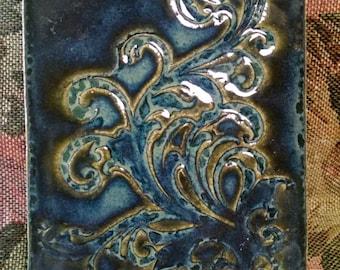 OOAK blue green Pottery Trivet