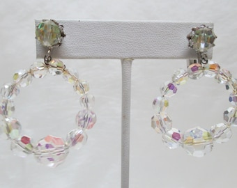 Vintage VENDOME Clear AB  Crystal Hoop Earrings