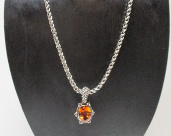 Vintage STEPHEN DWECK Sterling and Amber Pendant Necklace