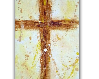 Orignal 5x7 Spiritual Cross Acrylic Painting, Contemporary Christian Abstract, Religious Fine Art