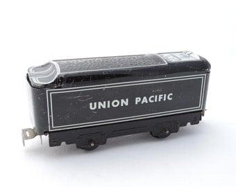 Vintage Marx Union Pacific Railroad Train Coal Car - Metal Tin Litho Train - O Scale Gauge