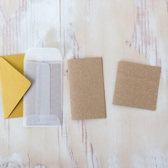 Gold Foil Fine Polka Dot Mini Folded Note Cards - 10 pc