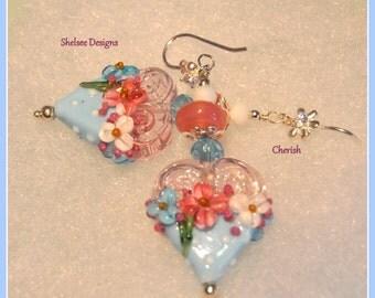 Blue Pink and White Earrings,Heart Earrings,Lampwork Earrings,Floral Earrings,Flower Jewelry,Soft Romance - CHERISH