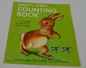 Baby's First Counting Book Platt & Munk DeLuxe Cloth Book Vintage 1960