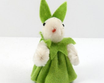 Miniature Wool Bunny Rabbit Easter Decoration Handmade Dressed Bunny AFA Wollminiaturen W. Germany Vintage Easter Wooly Woolie Pom Pom