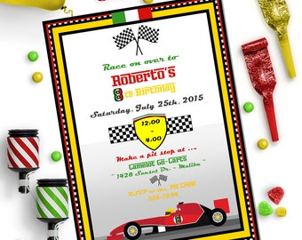 RACE CAR INVITATION - Personalized Printable Download