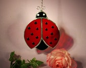 Stained Glass Suncatcher Lucky Lady Bug  (675)
