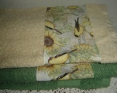 Sage green or wheat hand/dish towel w/American Goldfinch & sunflowers, 100% cotton terry towel, spring/summer decor, bird lover/hostess gift