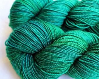 Hand dyed Yarn - Sock Yarn - Emerald Aqua Kelly Green Yarn - Knitting - Superwash Merino - Fingering Weight - 400 yards - OPULENT