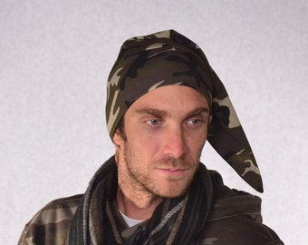 Camo Elf Hat Pointed Nightcap Cotton Sleep Beanie Mountain Man Hat Camouflage Stocking Cap Outdoor Hat