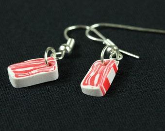 [BUNDLE] Bacon earrings breakfast Miniblings earrings Bacon ham strips ham of eggs