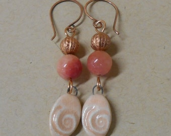 Peach Clay Spiral Dangle Earrings with Copper Beads, Dyed Agate, Copper Hooks