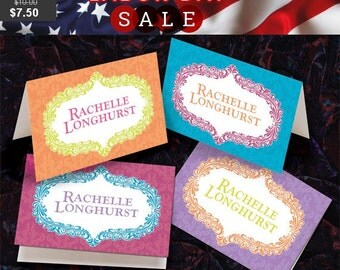 tangerine and lime notecards, turquoise and hot pink cards, lavender and tangerine notecards, brightly colored stationary