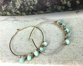 Gold Hoops/ Peruvian Opal Hoops/ Boho Hoops/ Bohemian Earrings/ Gypsy Jewelry/ Fashion Earrings/ Hoop Earrings