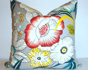Amagansett Large Teal Blue Yellow White Floral Pillow Covers 18x18 Throw Pillows