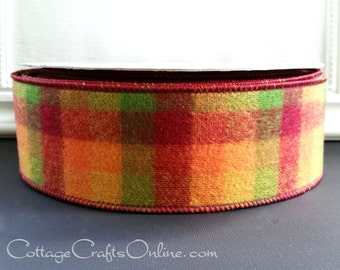 "Flannel Wired Ribbon, 2 1/2"", Orange, Moss Green, Yellow, Cranberry Fall Plaid - TWENTY YARD ROLL - ""October"", Autumn, Thanksgiving Ribbon"