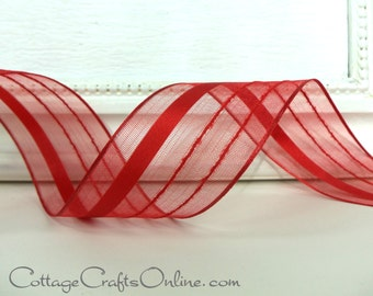"""Wired Ribbon, 11/2"""" wide,  Red Striped Semi-Sheer - THREE YARDS - Offray """"Kempton Red"""", Valentine, Christmas Wire Edged Ribbon"""
